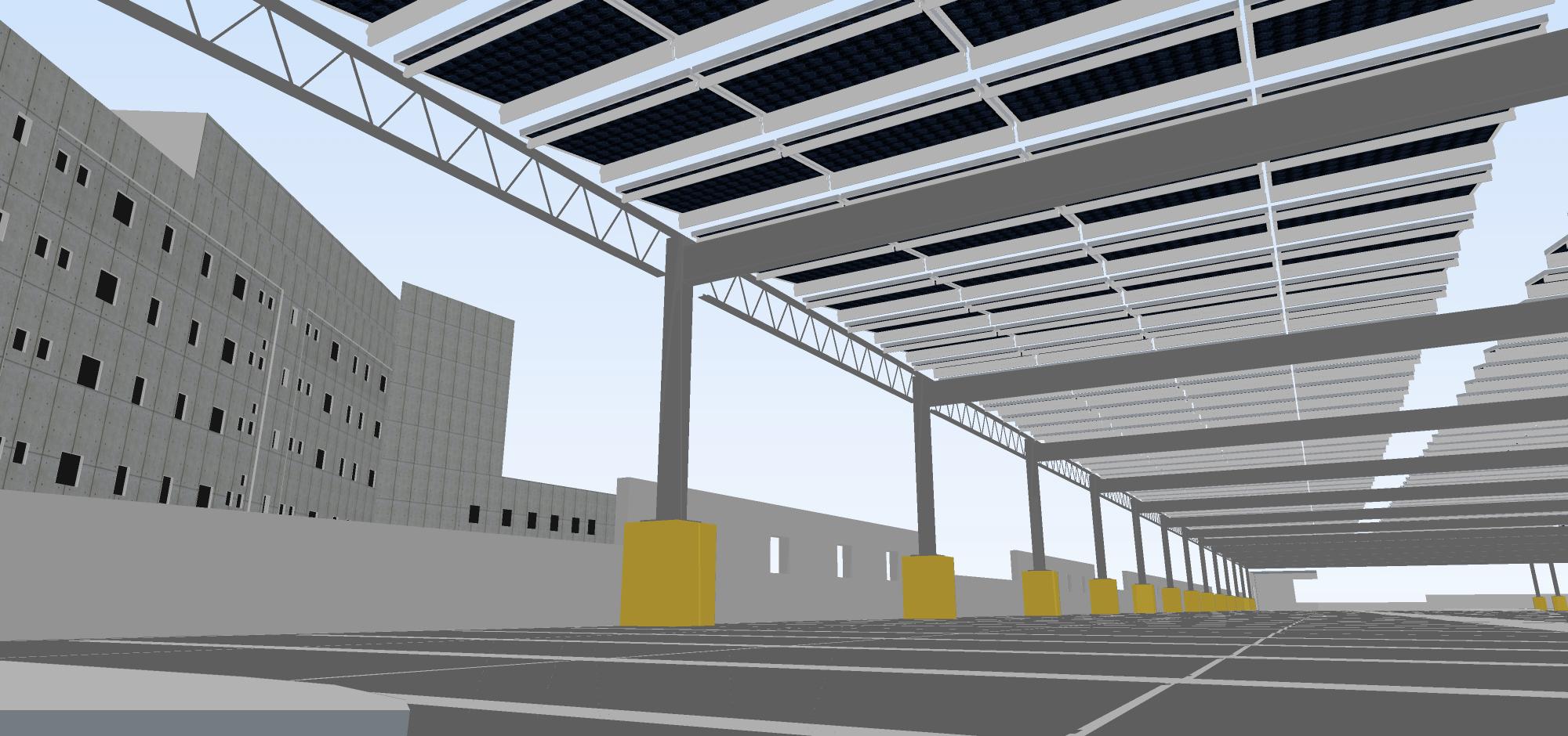 Propuesta: Modelo Tridimensional de una  instalación fotovoltaica en un estacionamiento multipisos en el Centro Judicial de Caguas
