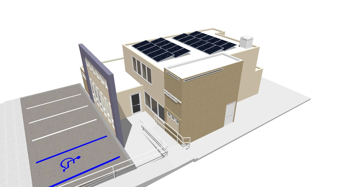 Office Facade Renovation and Photovoltaic Installation 3D Views